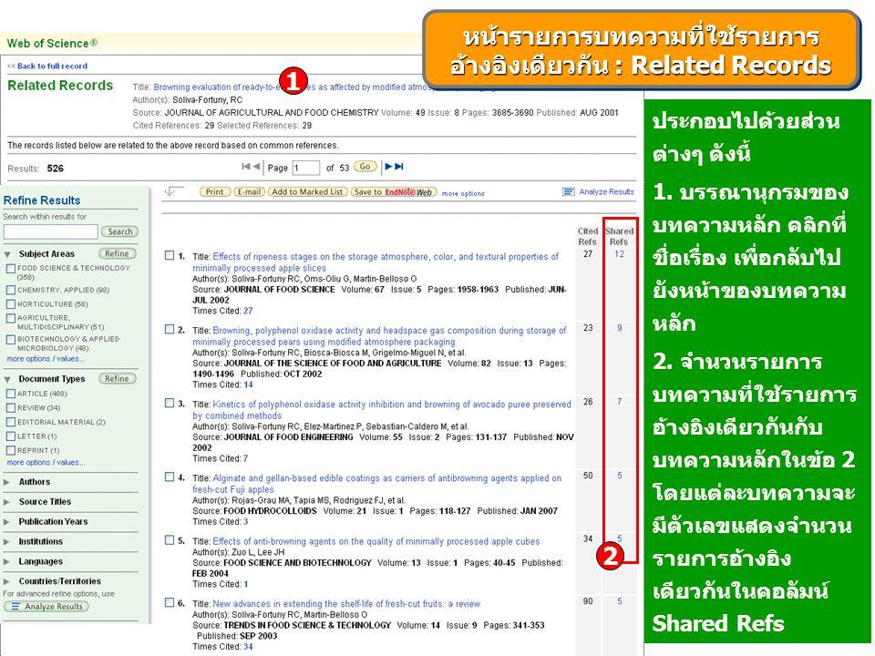ประกอบไปด้วยส่วน ต่างๆ ดังนี้ 1. บรรณานุกรมของ บทความหลัก คลิกที่ ชื่อเรื่อง เพื่อกลับไป ยังหน้าของบทความ หลัก 2. จำนวนรายการ บทความที่ใช้รายการ อ้างอ