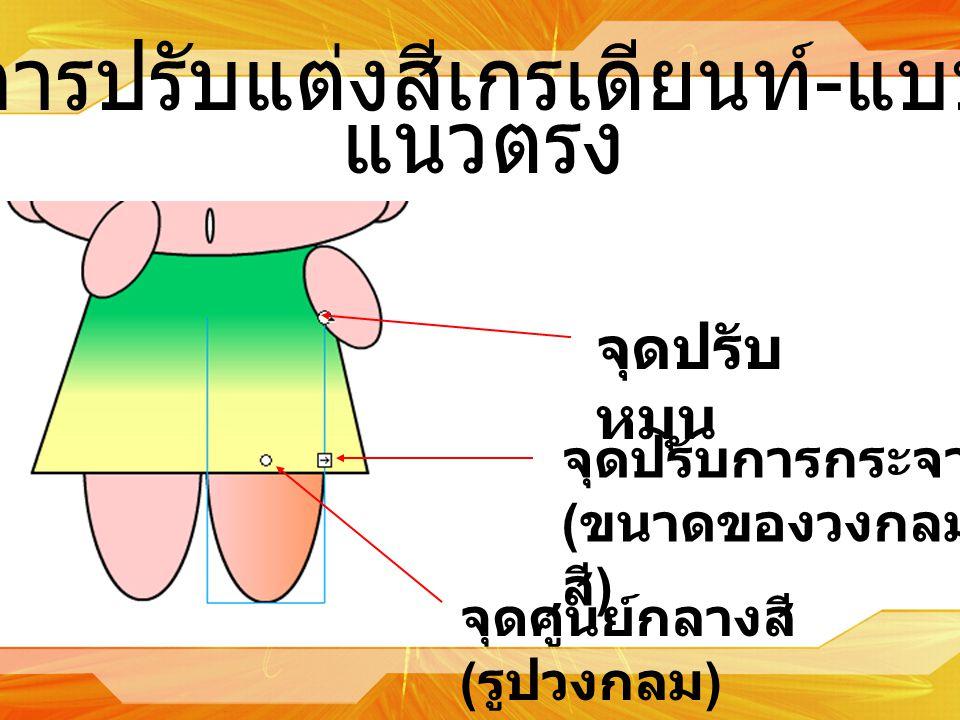 การปรับแต่งสีเกรเดียนท์ - แบบ แนวตรง จุดปรับการกระจาย ( ขนาดของวงกลม สี ) จุดปรับ หมุน จุดศูนย์กลางสี ( รูปวงกลม )