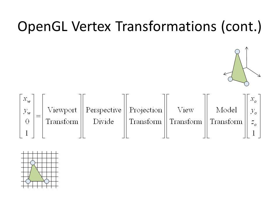 คำสั่ง OpenGL เกี่ยวกับ Perspective Projection ( ต่อ ) gluPerspective(fovy, aspect, near, far) – คูณ matrix ปัจจุบันด้วย perspective projection matrix เช่นเดียวกับ glFrustrum – มีผลเหมือนกับสั่ง glFrustum โดยได้ top = near * tan(fovy / 2) bottom = -top right = aspect * top left = -right