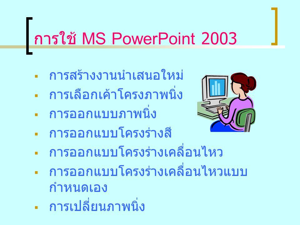 การใช้ MS PowerPoint 2003  การสร้างงานนำเสนอใหม่  การเลือกเค้าโครงภาพนิ่ง  การออกแบบภาพนิ่ง  การออกแบบโครงร่างสี  การออกแบบโครงร่างเคลื่อนไหว  ก