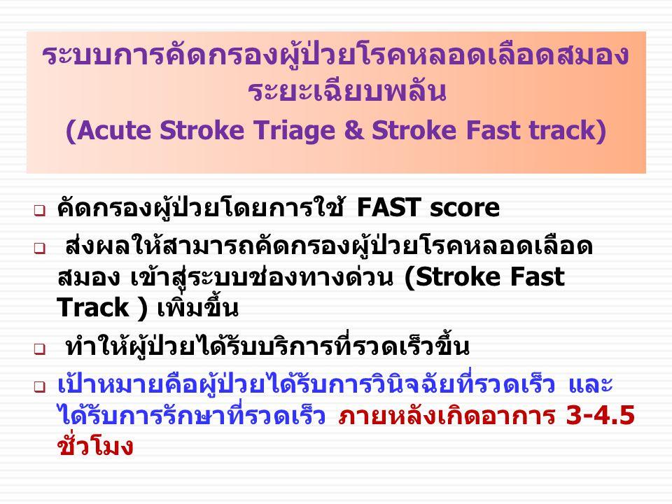 ระบบการคัดกรองผู้ป่วยโรคหลอดเลือดสมอง ระยะเฉียบพลัน (Acute Stroke Triage & Stroke Fast track)  คัดกรองผู้ป่วยโดยการใช้ FAST score  ส่งผลให้สามารถคัดกรองผู้ป่วยโรคหลอดเลือด สมอง เข้าสู่ระบบช่องทางด่วน (Stroke Fast Track ) เพิ่มขึ้น  ทำให้ผู้ป่วยได้รับบริการที่รวดเร็วขึ้น  เป้าหมายคือผู้ป่วยได้รับการวินิจฉัยที่รวดเร็ว และ ได้รับการรักษาที่รวดเร็ว ภายหลังเกิดอาการ 3-4.5 ชั่วโมง