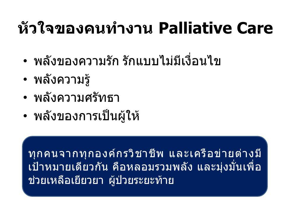 ทำไมเราจึงรักงาน Palliative Care 1.เราเองได้เป็นทั้งผู้ให้และผู้รับ 2.เรื่องราวประทับใจในการดูแลผู้ป่วยระยะท้าย...