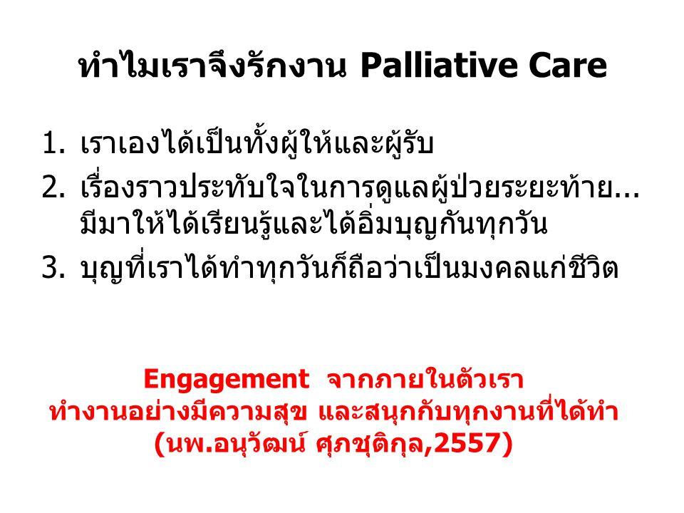 ทำไมเราจึงรักงาน Palliative Care 1.เราเองได้เป็นทั้งผู้ให้และผู้รับ 2.เรื่องราวประทับใจในการดูแลผู้ป่วยระยะท้าย... มีมาให้ได้เรียนรู้และได้อิ่มบุญกันท
