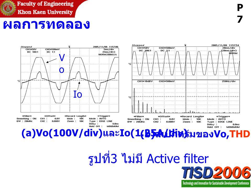 ผลการทดลอง รูปที่ 3 ไม่มี Active filter (a)Vo(100V/div) และ Io(1.25A/div) (b) สเปกตรัมของ Vo,THD=3.99% VoVo Io P7P7