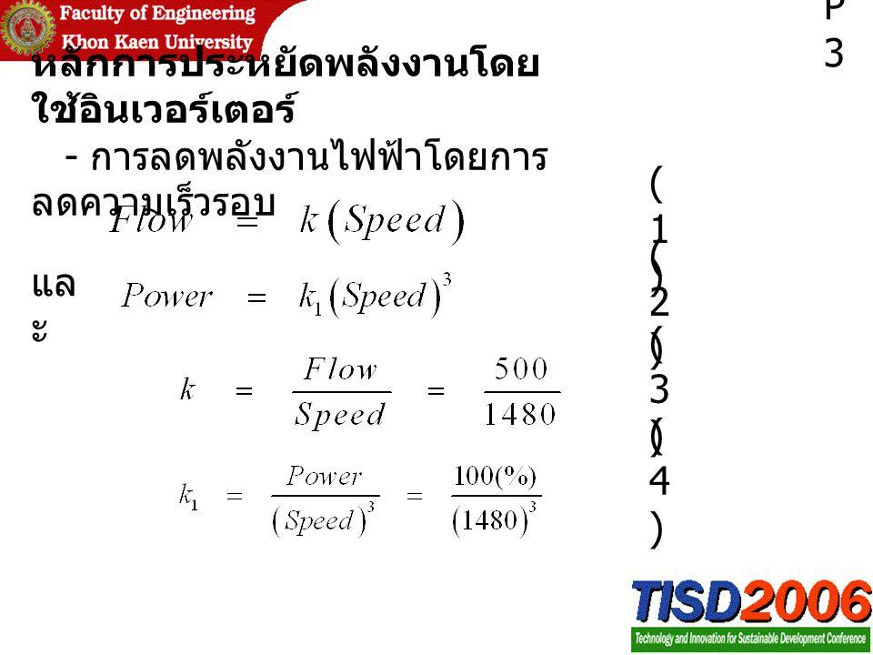 หลักการประหยัดพลังงานโดย ใช้อินเวอร์เตอร์ - การลดพลังงานไฟฟ้าโดยการ ลดความเร็วรอบ แล ะ P3P3 (1)(1) (2)(2) (3)(3) (4)(4)