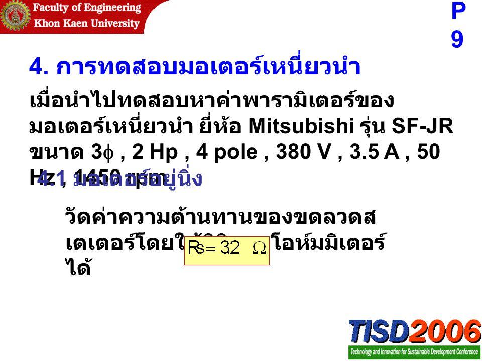 4. การทดสอบมอเตอร์เหนี่ยวนำ เมื่อนำไปทดสอบหาค่าพารามิเตอร์ของ มอเตอร์เหนี่ยวนำ ยี่ห้อ Mitsubishi รุ่น SF-JR ขนาด 3 , 2 Hp, 4 pole, 380 V, 3.5 A, 50 H