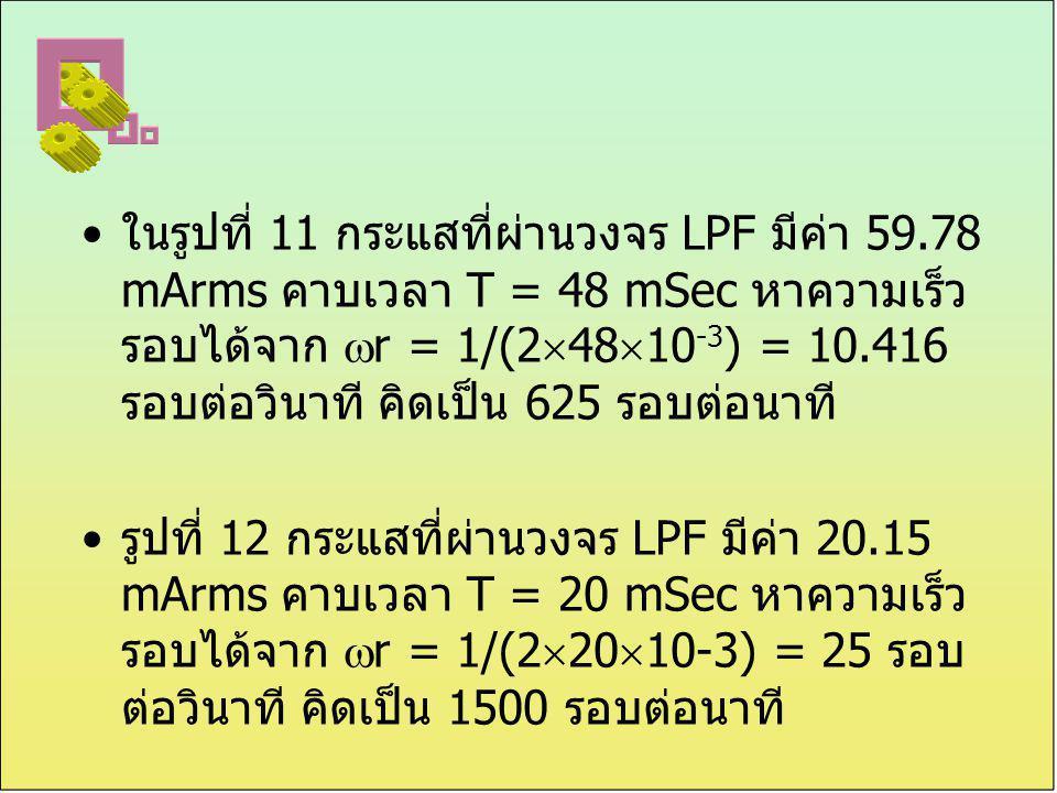 ในรูปที่ 11 กระแสที่ผ่านวงจร LPF มีค่า 59.78 mArms คาบเวลา T = 48 mSec หาความเร็ว รอบได้จาก  r = 1/(2  48  10 -3 ) = 10.416 รอบต่อวินาที คิดเป็น 62