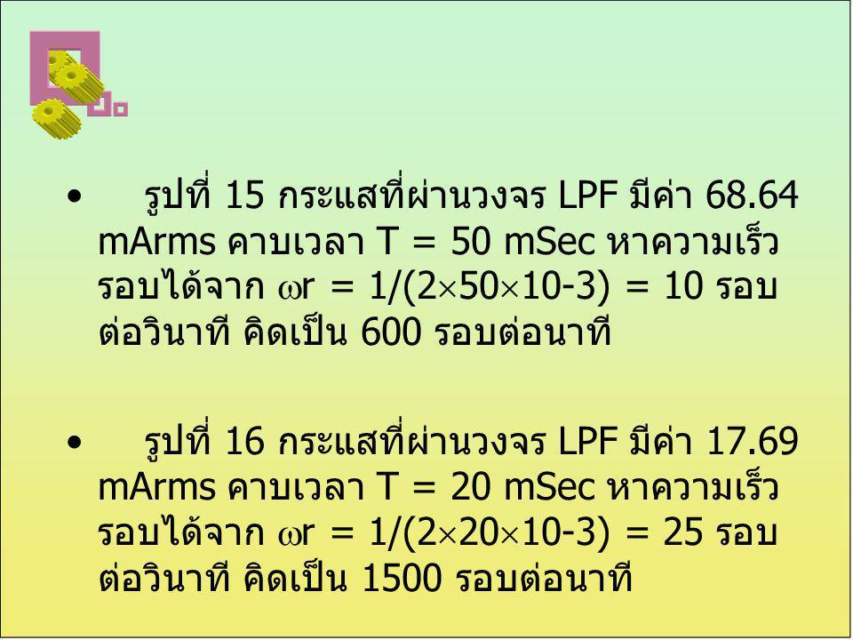 รูปที่ 15 กระแสที่ผ่านวงจร LPF มีค่า 68.64 mArms คาบเวลา T = 50 mSec หาความเร็ว รอบได้จาก  r = 1/(2  50  10-3) = 10 รอบ ต่อวินาที คิดเป็น 600 รอบต่