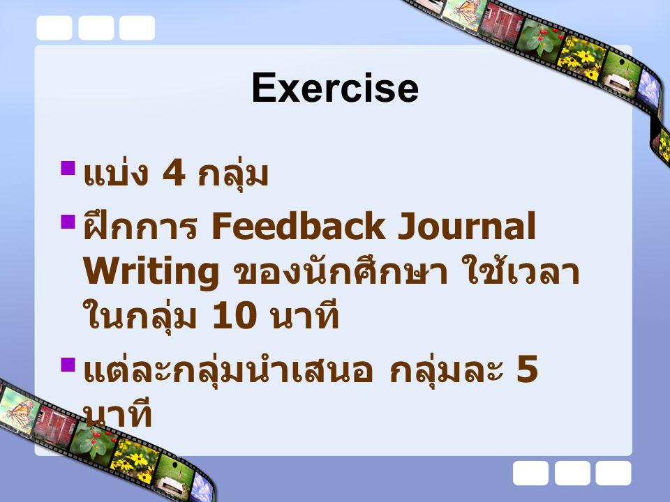 Journal feedback ครูต้อง feedback ให้นักศึกษาก่อน นักศึกษาเขียนฉบับต่อไป Feedback ประเมินการเขียนของนักศึกษา ในแง่ของการพยายามเขียน Brown & Sorrel (1993) กล่าวควร Feedback ควร comment 2-3 ข้อ ต่อฉบับ สิ่งที่นักศึกษาเขียนถ้าผิดจะต้องแก้ไข แต่ ไม่จำเป็นต้องวิพากษ์ วิจารณ์ การ feedback อาจเขียนตอบหรือคุยกัน