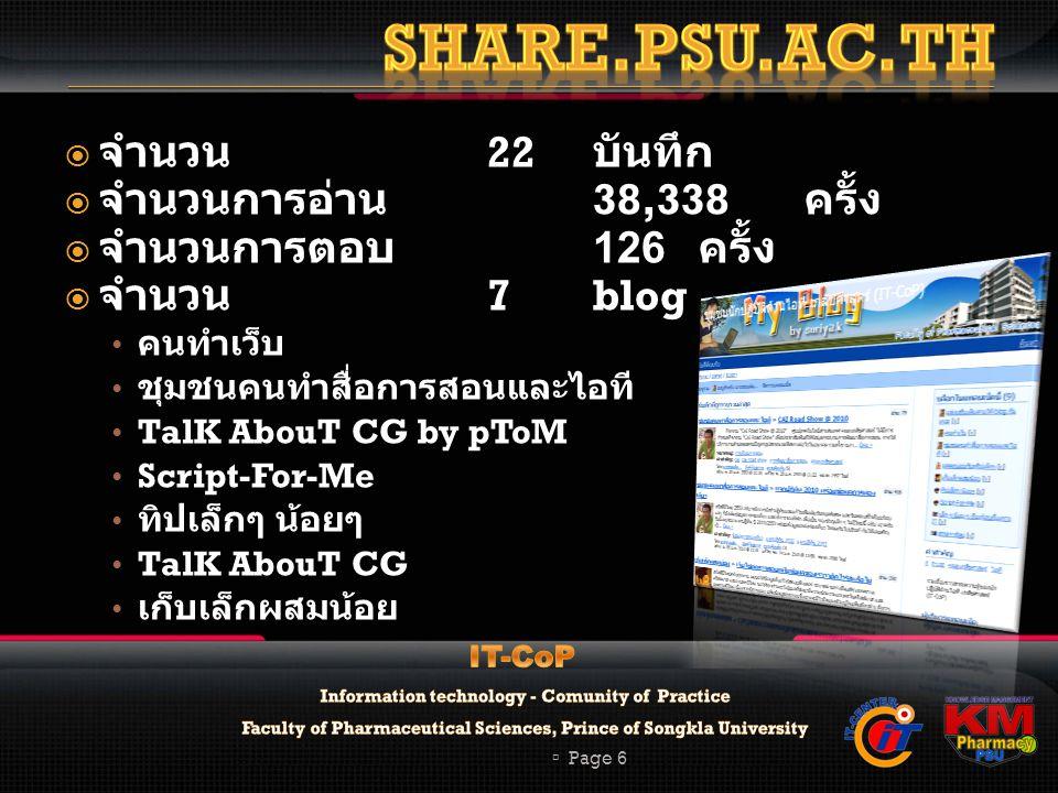  จำนวน 22 บันทึก  จำนวนการอ่าน 38,338 ครั้ง  จำนวนการตอบ 126 ครั้ง  จำนวน 7blog คนทำเว็บ ชุมชนคนทำสื่อการสอนและไอที TalK AbouT CG by pToM Script-For-Me ทิปเล็กๆ น้อยๆ TalK AbouT CG เก็บเล็กผสมน้อย  Page 6