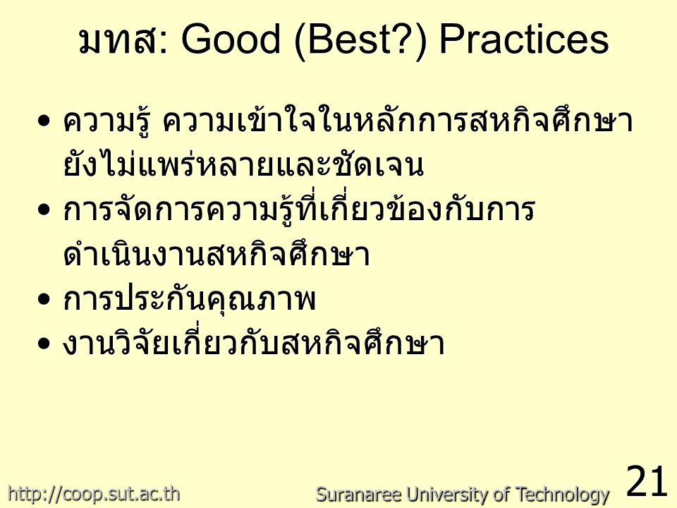 มทส : Good (Best?) Practices 21 Suranaree University of Technology http://coop.sut.ac.th ความรู้ ความเข้าใจในหลักการสหกิจศึกษา ยังไม่แพร่หลายและชัดเจนความรู้ ความเข้าใจในหลักการสหกิจศึกษา ยังไม่แพร่หลายและชัดเจน การจัดการความรู้ที่เกี่ยวข้องกับการ ดำเนินงานสหกิจศึกษาการจัดการความรู้ที่เกี่ยวข้องกับการ ดำเนินงานสหกิจศึกษา การประกันคุณภาพการประกันคุณภาพ งานวิจัยเกี่ยวกับสหกิจศึกษางานวิจัยเกี่ยวกับสหกิจศึกษา