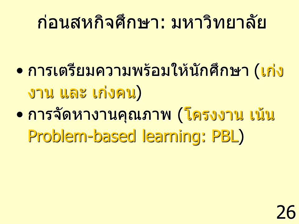 ก่อนสหกิจศึกษา: มหาวิทยาลัย การเตรียมความพร้อมให้นักศึกษา (เก่ง งาน และ เก่งคน)การเตรียมความพร้อมให้นักศึกษา (เก่ง งาน และ เก่งคน) การจัดหางานคุณภาพ (โครงงาน เน้น Problem-based learning: PBL)การจัดหางานคุณภาพ (โครงงาน เน้น Problem-based learning: PBL) 26