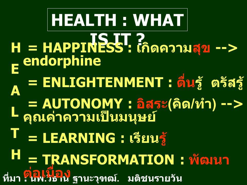 HEALTH : WHAT IS IT ? HEALTHHEALTH ที่มา : นพ. วิธาน ฐานะวุฑฒ์. มติชนรายวัน อาทิตย์ 10 ม. ค. 47 = HAPPINESS : เกิดความสุข --> endorphine = ENLIGHTENME