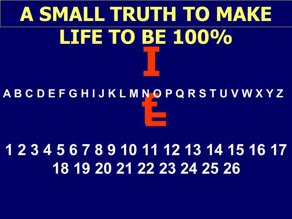 A SMALL TRUTH TO MAKE LIFE TO BE 100% IfIf A B C D E F G H I J K L M N O P Q R S T U V W X Y Z = 1 2 3 4 5 6 7 8 9 10 11 12 13 14 15 16 17 18 19 20 21