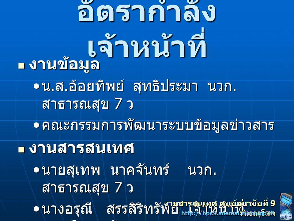 งาน สารสนเทศ งานสารสนเทศ ศูนย์อนามัยที่ 9 พิษณุโลก http://hpc9.anamai.moph.go.th