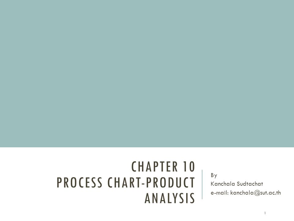 CHAPTER 10 PROCESS CHART-PRODUCT ANALYSIS By Kanchala Sudtachat e-mail: kanchala@sut.ac.th 1