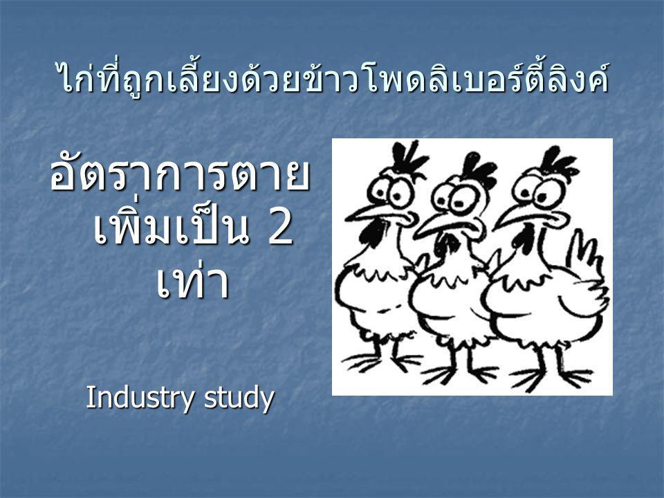 ไก่ที่ถูกเลี้ยงด้วยข้าวโพดลิเบอร์ตี้ลิงค์ อัตราการตาย เพิ่มเป็น 2 เท่า Industry study