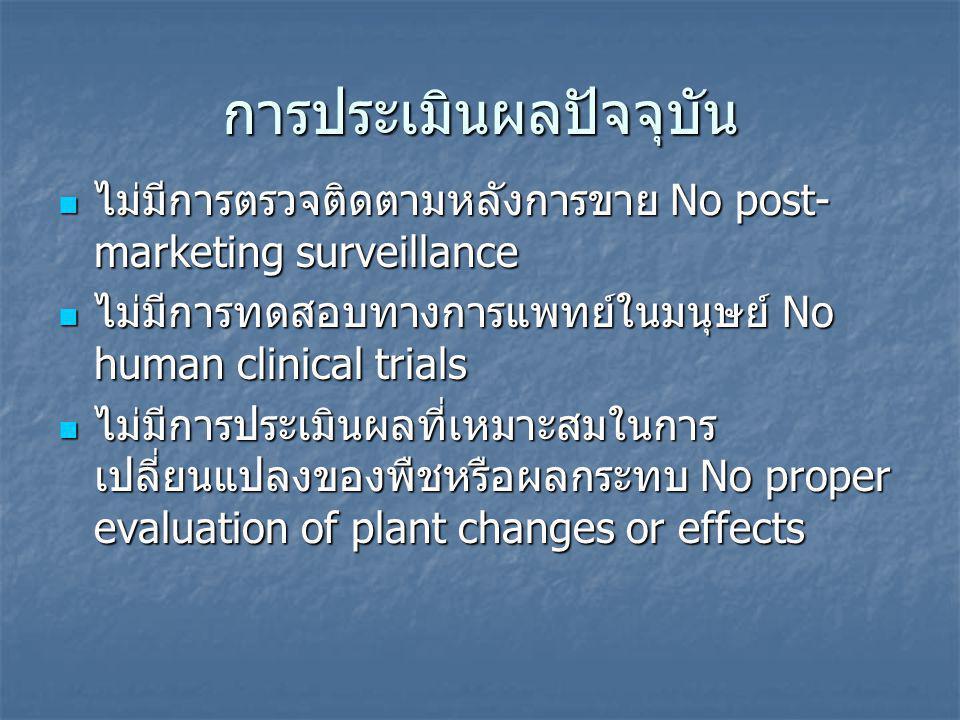การประเมินผลปัจจุบัน ไม่มีการตรวจติดตามหลังการขาย No post- marketing surveillance ไม่มีการตรวจติดตามหลังการขาย No post- marketing surveillance ไม่มีการทดสอบทางการแพทย์ในมนุษย์ No human clinical trials ไม่มีการทดสอบทางการแพทย์ในมนุษย์ No human clinical trials ไม่มีการประเมินผลที่เหมาะสมในการ เปลี่ยนแปลงของพืชหรือผลกระทบ No proper evaluation of plant changes or effects ไม่มีการประเมินผลที่เหมาะสมในการ เปลี่ยนแปลงของพืชหรือผลกระทบ No proper evaluation of plant changes or effects