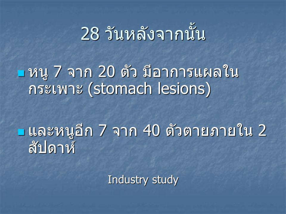 28 วันหลังจากนั้น หนู 7 จาก 20 ตัว มีอาการแผลใน กระเพาะ (stomach lesions) หนู 7 จาก 20 ตัว มีอาการแผลใน กระเพาะ (stomach lesions) และหนูอีก 7 จาก 40 ตัวตายภายใน 2 สัปดาห์ และหนูอีก 7 จาก 40 ตัวตายภายใน 2 สัปดาห์ Industry study