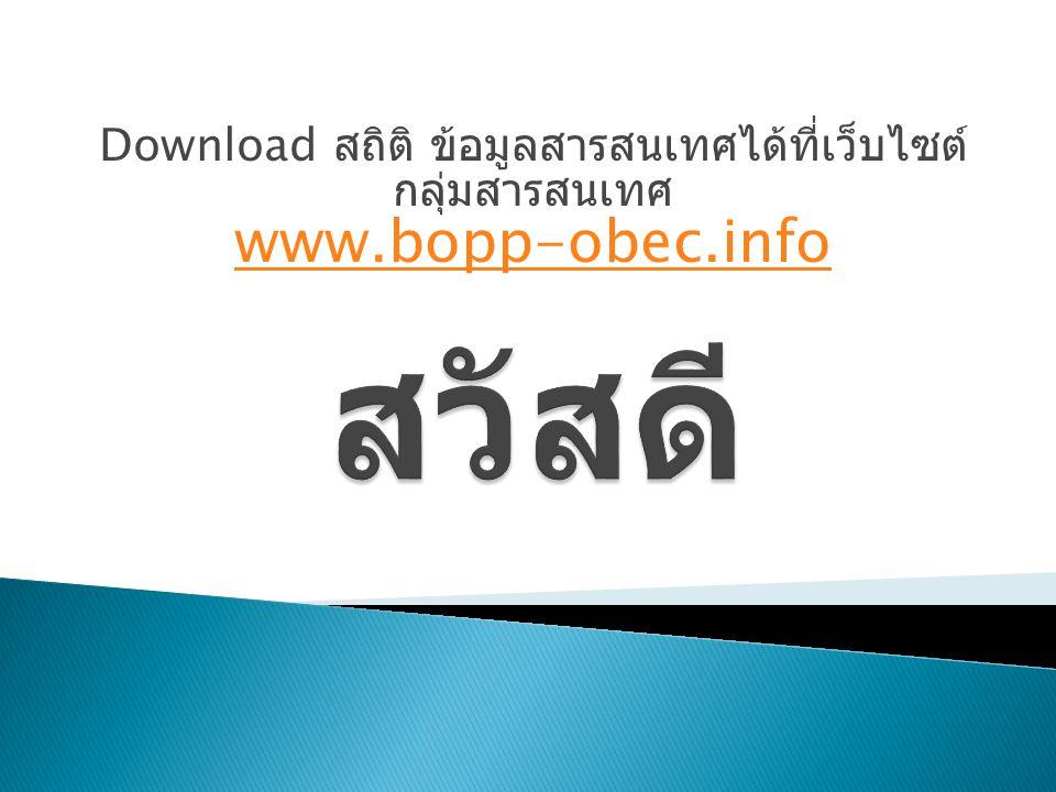 Download สถิติ ข้อมูลสารสนเทศได้ที่เว็บไซต์ กลุ่มสารสนเทศ www.bopp-obec.info