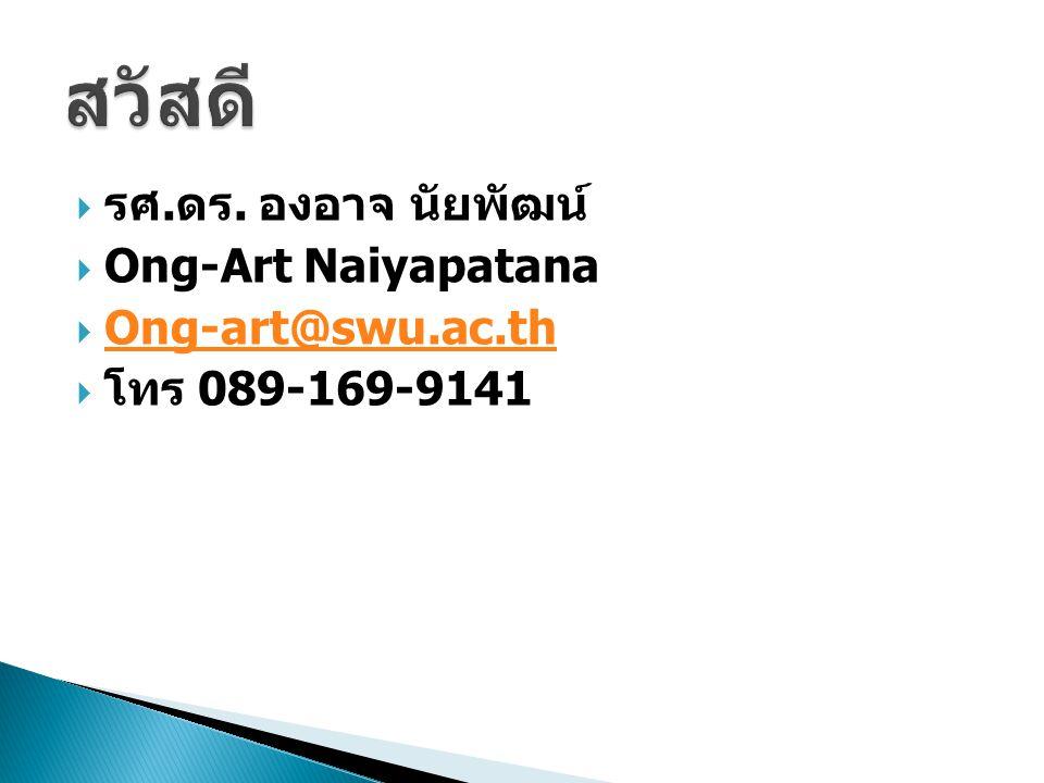  รศ. ดร. องอาจ นัยพัฒน์  Ong-Art Naiyapatana  Ong-art@swu.ac.th Ong-art@swu.ac.th  โทร 089-169-9141