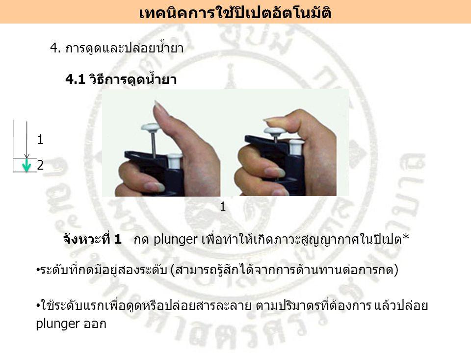 1 จังหวะที่ 1 กด plunger เพื่อทำให้เกิดภาวะสูญญากาศในปิเปต* ระดับที่กดมีอยู่สองระดับ (สามารถรู้สึกได้จากการต้านทานต่อการกด) ใช้ระดับแรกเพื่อดูดหรือปล่อยสารละลาย ตามปริมาตรที่ต้องการ แล้วปล่อย plunger ออก 4.