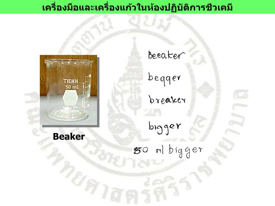 Beaker เครื่องมือและเครื่องแก้วในห้องปฏิบัติการชีวเคมี