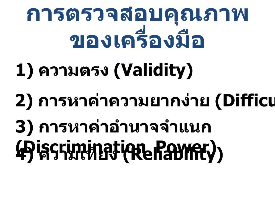 การตรวจสอบคุณภาพ ของเครื่องมือ 1) ความตรง (Validity) 2) การหาค่าความยากง่าย (Difficulty) 3) การหาค่าอำนาจจำแนก (Discrimination Power) 4) ความเที่ยง (R