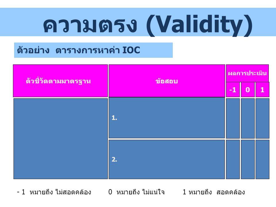 ตัวอย่าง ตารางการหาค่า IOC ตัวชี้วัดตามมาตรฐาน ผลการประเมิน 01 ข้อสอบ 2. ความตรง (Validity) - 1 หมายถึง ไม่สอดคล้อง 0 หมายถึง ไม่แน่ใจ1 หมายถึง สอดคล้