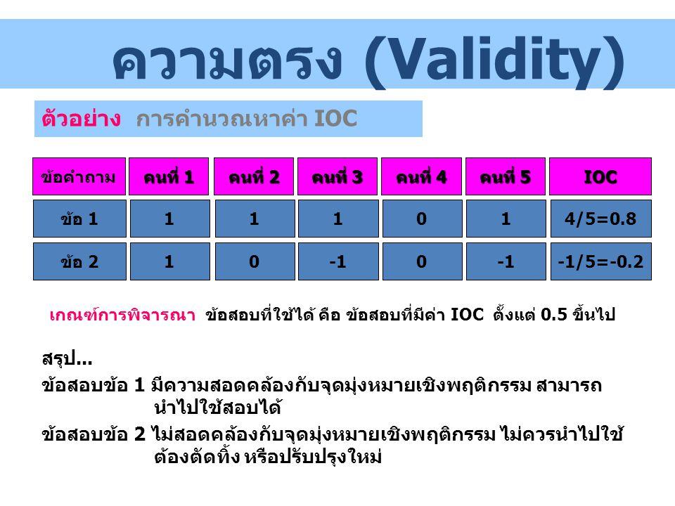 ข้อคำถาม คนที่ 1 คนที่ 2 คนที่ 3 คนที่ 4 คนที่ 5 IOC ข้อ 1111014/5=0.8 ข้อ 2100 -1/5=-0.2 สรุป... ข้อสอบข้อ 1 มีความสอดคล้องกับจุดมุ่งหมายเชิงพฤติกรรม