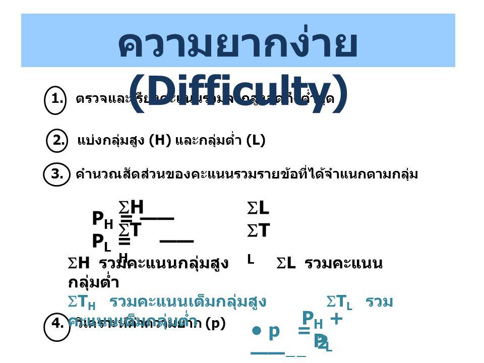 2. แบ่งกลุ่มสูง (H) และกลุ่มต่ำ (L) 3. คำนวณสัดส่วนของคะแนนรวมรายข้อที่ได้จำแนกตามกลุ่ม p = —— —— P H + P L 2 1. ตรวจและเรียงคะแนนรวมจากสูงสุดถึงต่ำสุ