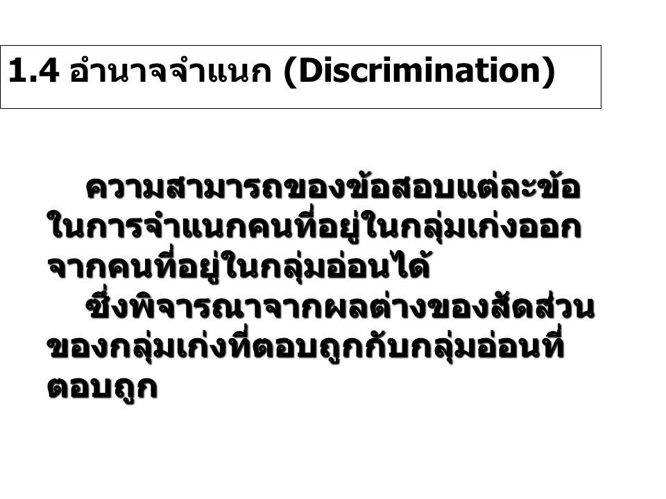 1.4 อำนาจจำแนก (Discrimination) ความสามารถของข้อสอบแต่ละข้อ ในการจำแนกคนที่อยู่ในกลุ่มเก่งออก จากคนที่อยู่ในกลุ่มอ่อนได้ ซึ่งพิจารณาจากผลต่างของสัดส่ว