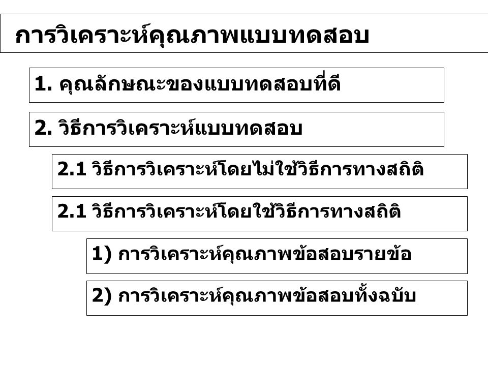 1. คุณลักษณะของแบบทดสอบที่ดี การวิเคราะห์คุณภาพแบบทดสอบ 2. วิธีการวิเคราะห์แบบทดสอบ 2.1 วิธีการวิเคราะห์โดยไม่ใช้วิธีการทางสถิติ 1) การวิเคราะห์คุณภาพ
