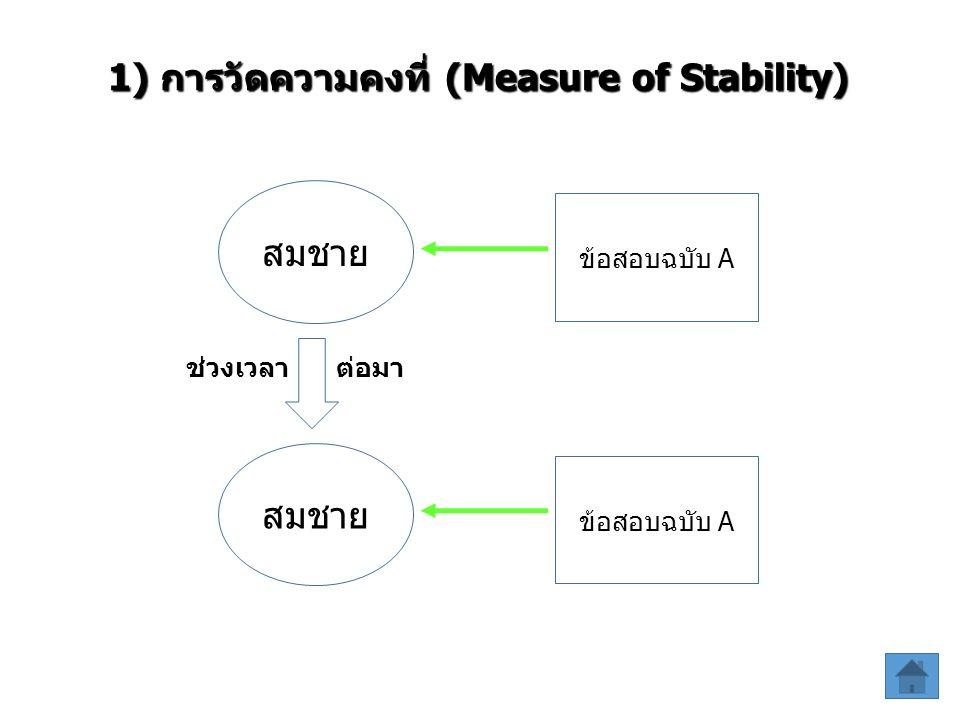 1) การวัดความคงที่ (Measure of Stability) ข้อสอบฉบับ A สมชาย ข้อสอบฉบับ A สมชาย ช่วงเวลา ต่อมา