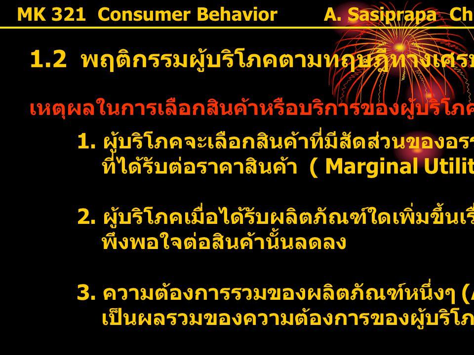 MK 321 Consumer Behavior 1.2 พฤติกรรมผู้บริโภคตามทฤษฎีทางเศรษฐศาสตร์ เหตุผลในการเลือกสินค้าหรือบริการของผู้บริโภค 1. ผู้บริโภคจะเลือกสินค้าที่มีสัดส่ว