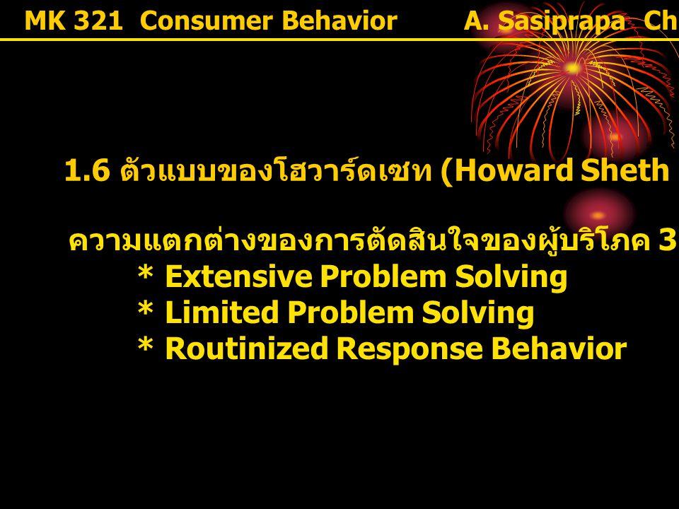 MK 321 Consumer Behavior 1.6 ตัวแบบของโฮวาร์ดเซท (Howard Sheth Model) ความแตกต่างของการตัดสินใจของผู้บริโภค 3 ระดับ * Extensive Problem Solving * Limi