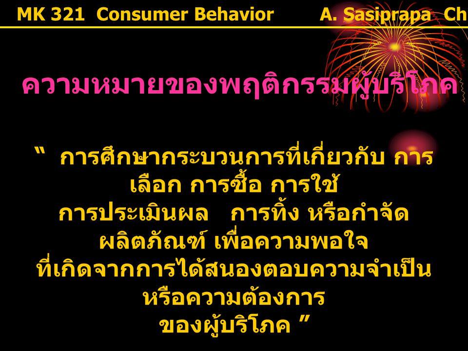 """MK 321 Consumer Behavior ความหมายของพฤติกรรมผู้บริโภค """" การศึกษากระบวนการที่เกี่ยวกับ การ เลือก การซื้อ การใช้ การประเมินผล การทิ้ง หรือกำจัด ผลิตภัณฑ"""