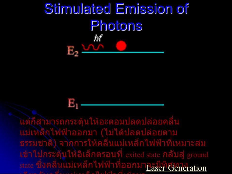 (a) ในสถานการณ์ปกติ อิเล็กตรอนส่วนมาก มักจะถูกพบใน ground state หรือในสถานะต่ำ ที่สุด (b) แต่ถ้าอะตอมอยู่ใน สถานการณ์ที่ถูกกระตุ้น จากแหล่งพลังงาน ภายนอก อิเล็กตรอนใน อะตอมโดยส่วนมากจะ ถูกพบอยู่ในสถานะที่สูง กว่าแทน เรียกว่า population inversion A Population Inversion