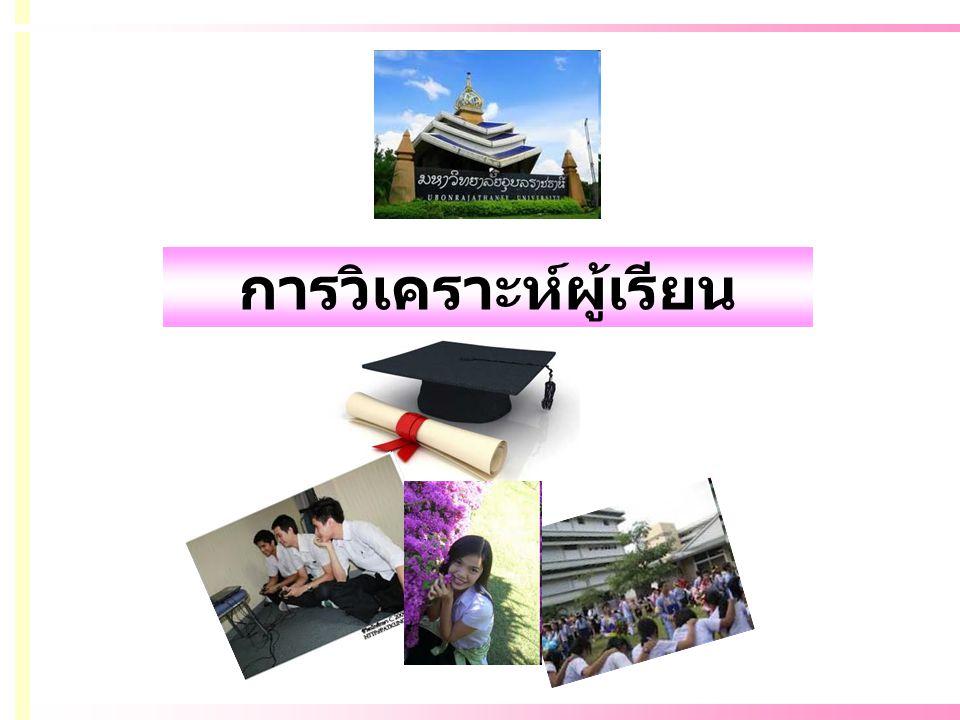 ผู้เรียน: นักศึกษา นักศึกษา: 18-23 ปี : (ปริญญาตรี) วัยรุ่นตอนปลาย (17-19 ปี ) วัยผู้ใหญ่ตอนต้น (20-25 ปี )