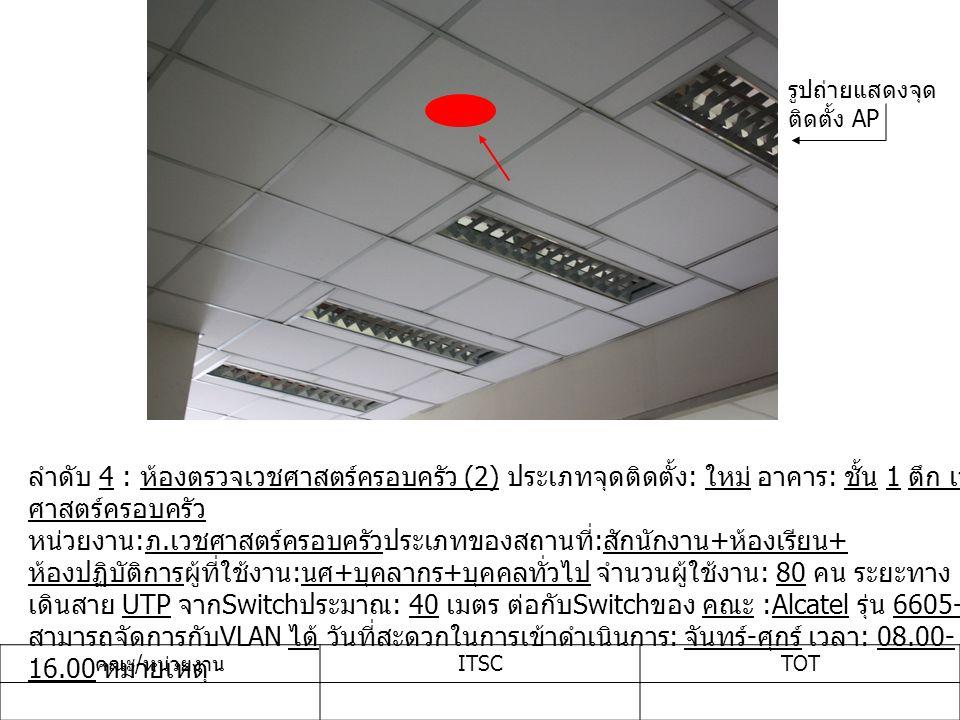 ลำดับ 4 : ห้องตรวจเวชศาสตร์ครอบครัว (2) ประเภทจุดติดตั้ง : ใหม่ อาคาร : ชั้น 1 ตึก เวช ศาสตร์ครอบครัว หน่วยงาน : ภ.