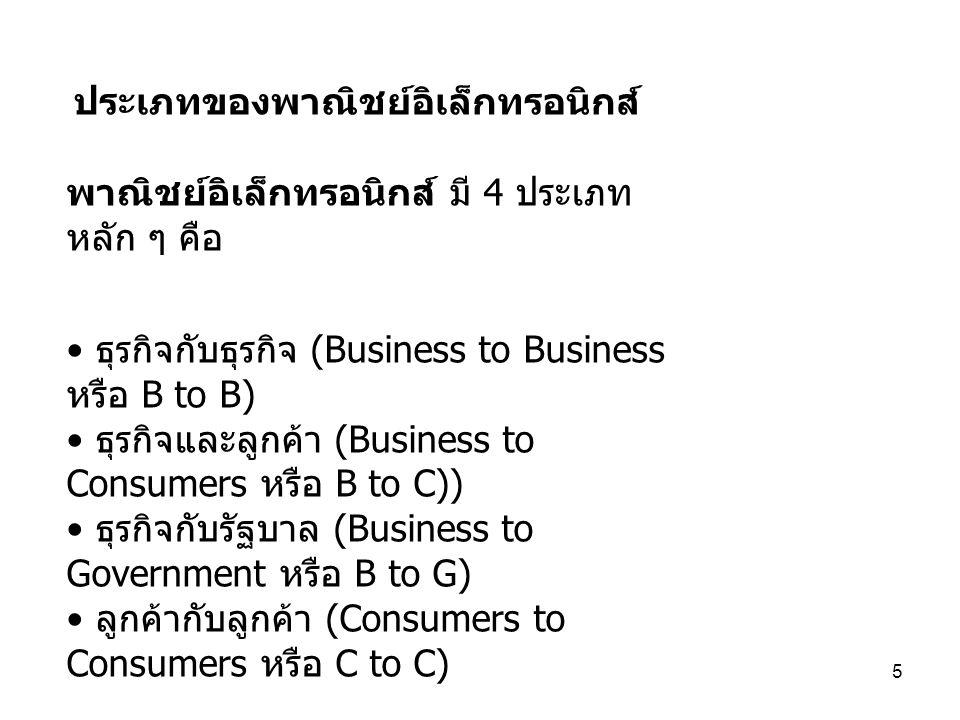 5 ประเภทของพาณิชย์อิเล็กทรอนิกส์ พาณิชย์อิเล็กทรอนิกส์ มี 4 ประเภท หลัก ๆ คือ ธุรกิจกับธุรกิจ (Business to Business หรือ B to B) ธุรกิจและลูกค้า (Busi