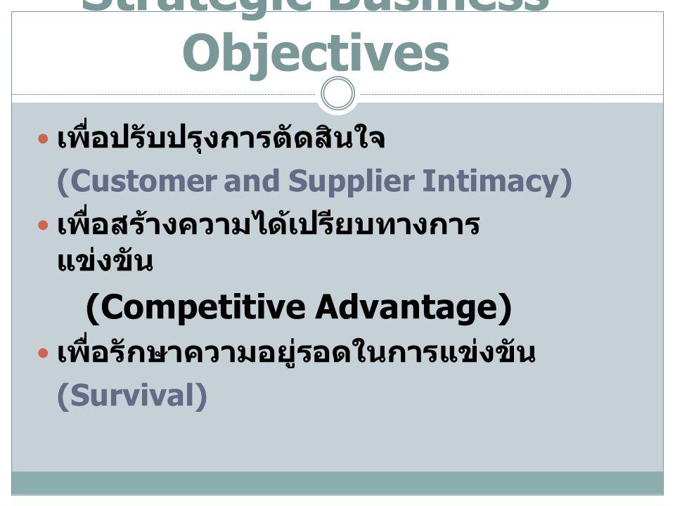 Strategic Business Objectives เพื่อปรับปรุงการตัดสินใจ (Customer and Supplier Intimacy) เพื่อสร้างความได้เปรียบทางการ แข่งขัน (Competitive Advantage)