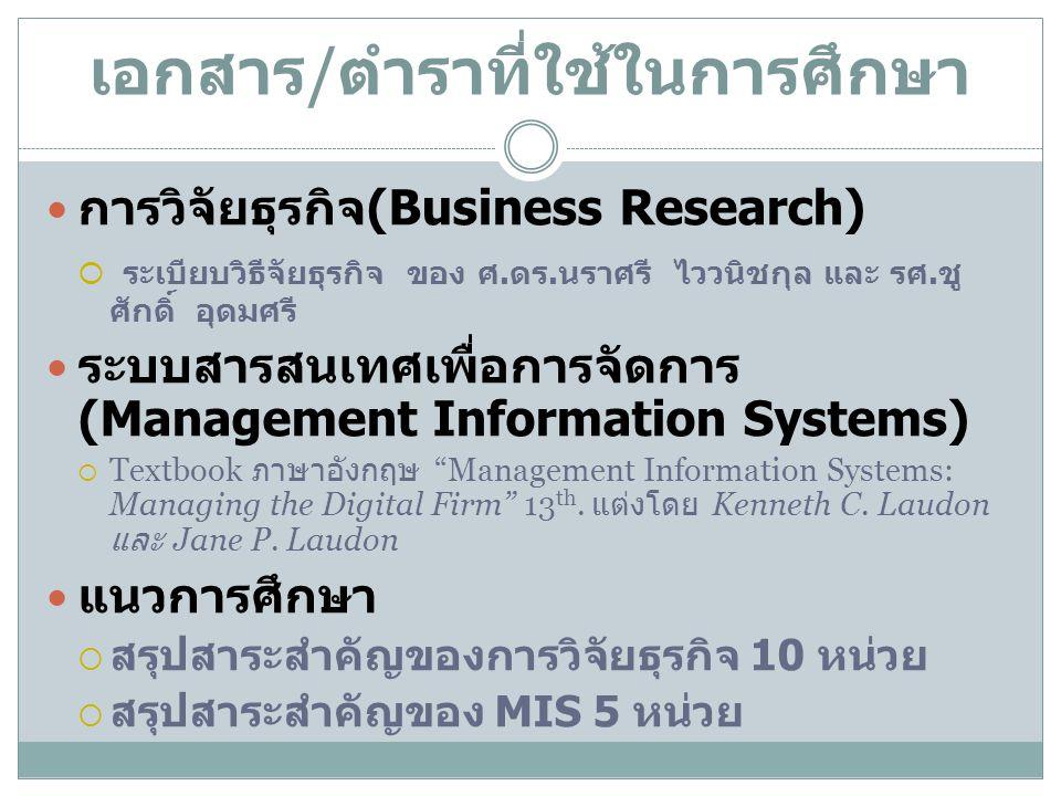 เอกสาร / ตำราที่ใช้ในการศึกษา การวิจัยธุรกิจ (Business Research)  ระเบียบวิธีจัยธุรกิจ ของ ศ. ดร. นราศรี ไววนิชกุล และ รศ. ชู ศักดิ์ อุดมศรี ระบบสารส