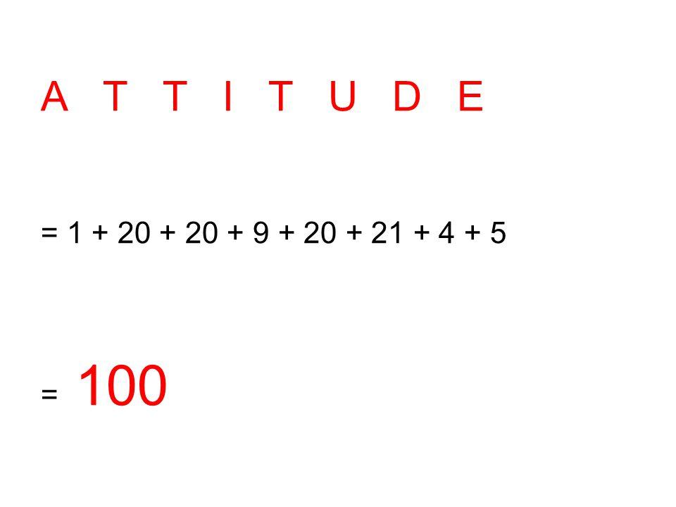 A T T I T U D E = 1 + 20 + 20 + 9 + 20 + 21 + 4 + 5 = 100