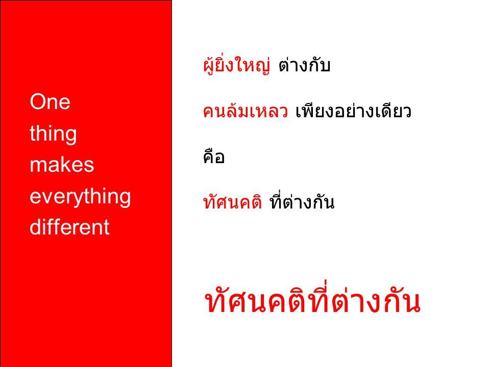 One thing makes everything different ผู้ยิ่งใหญ่ ต่างกับ คนล้มเหลว เพียงอย่างเดียว คือ ทัศนคติ ที่ต่างกัน
