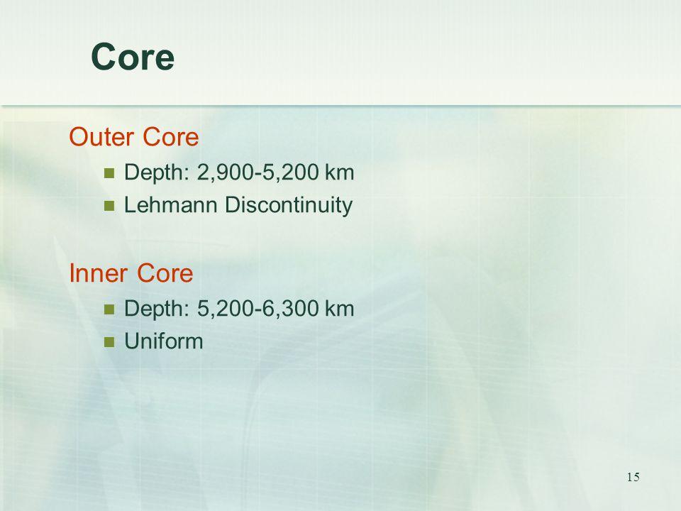 15 Core Outer Core Depth: 2,900-5,200 km Lehmann Discontinuity Inner Core Depth: 5,200-6,300 km Uniform
