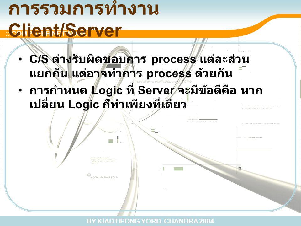 BY KIADTIPONG YORD. CHANDRA 2004 :: COMPUTER NETWORK การรวมการทำงาน Client/Server C/S ต่างรับผิดชอบการ process แต่ละส่วน แยกกัน แต่อาจทำการ process ด้