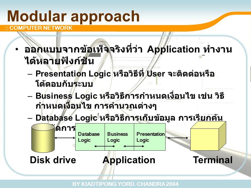 BY KIADTIPONG YORD. CHANDRA 2004 :: COMPUTER NETWORK Modular approach ออกแบบจากข้อเท็จจริงที่ว่า Application ทำงาน ได้หลายฟังก์ชัน –Presentation Logic