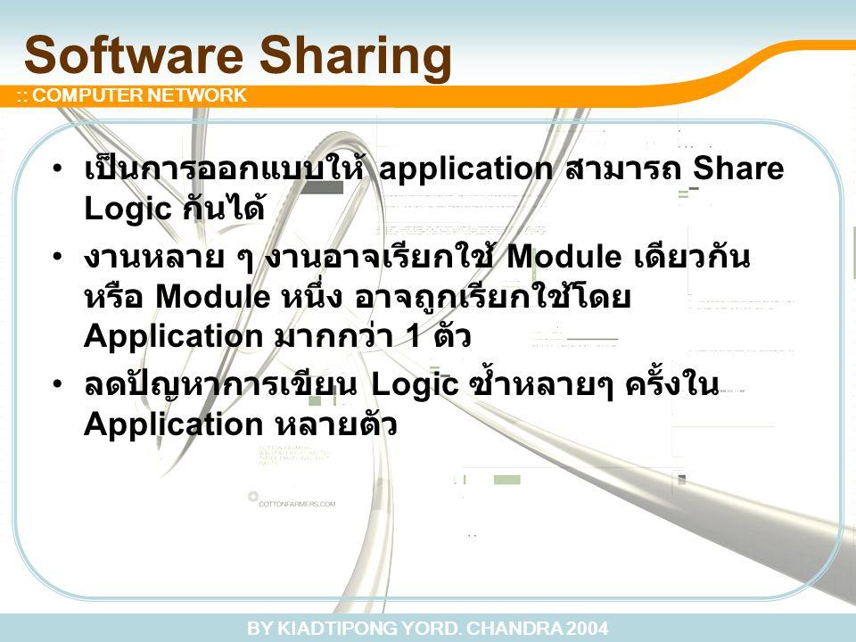 BY KIADTIPONG YORD. CHANDRA 2004 :: COMPUTER NETWORK Software Sharing เป็นการออกแบบให้ application สามารถ Share Logic กันได้ งานหลาย ๆ งานอาจเรียกใช้
