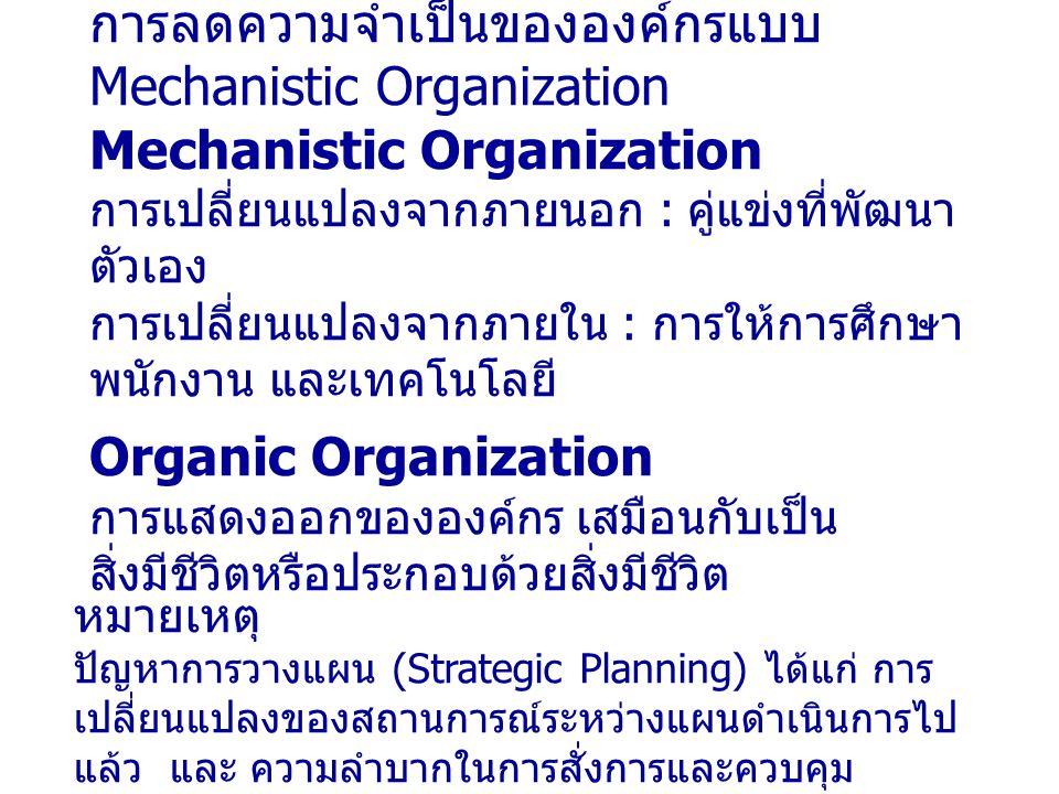 การลดความจำเป็นขององค์กรแบบ Mechanistic Organization Mechanistic Organization การเปลี่ยนแปลงจากภายนอก : คู่แข่งที่พัฒนา ตัวเอง การเปลี่ยนแปลงจากภายใน